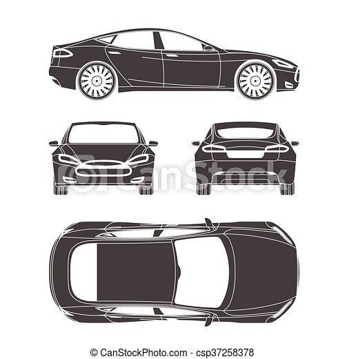 Car silhouette draw four all view top side back insurance rent car line draw insurance rent damage condition report form blueprint malvernweather Image collections