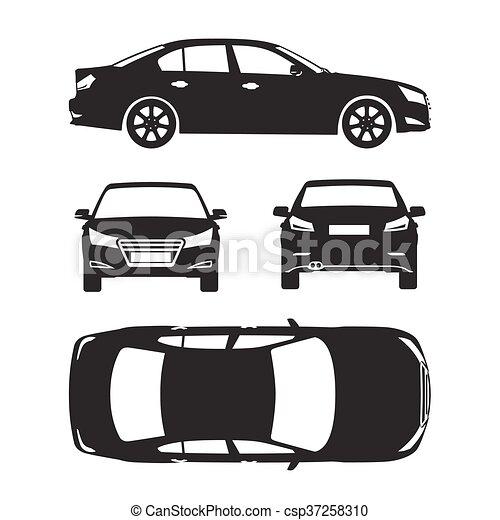 Car silhouette icons four all view top side back insurance rent car silhouette icons four all view top side back insurance rent damage condition report malvernweather Image collections