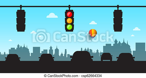 Car Silhouettes with Traffic Lights and Skyline. City Street Vector Illustration. - csp62664334
