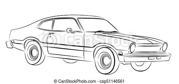 Car sketch. Sketch of the old car. clip art vector - Search Drawings ...