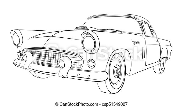 Car sketch. Sketch of the old car.