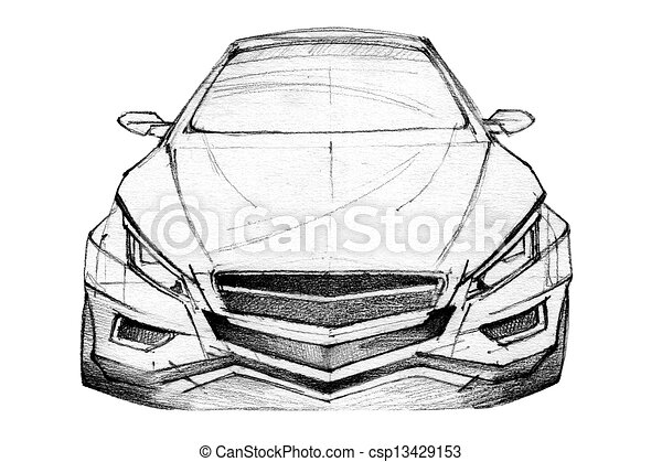 Car sketch. Hand drawn illustration of a modern car.