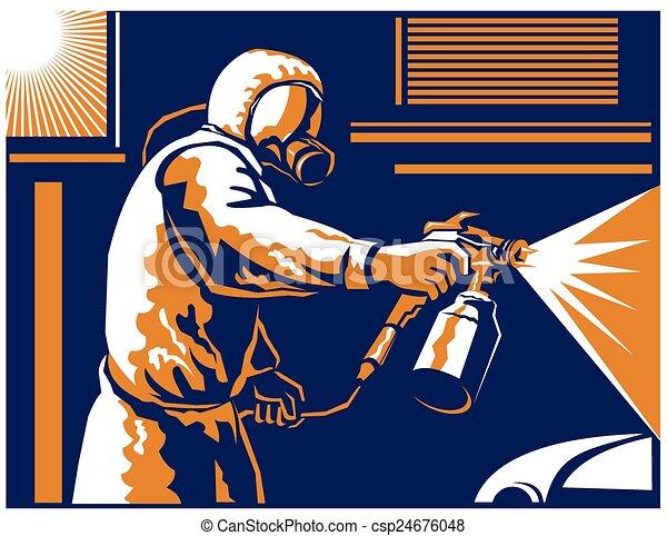 car spray painter working vector illustration of a spray painter