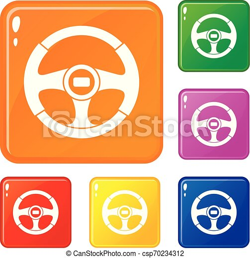 car steering wheel icons set vector color car steering wheel icons set collection vector 6 color isolated on white can stock photo