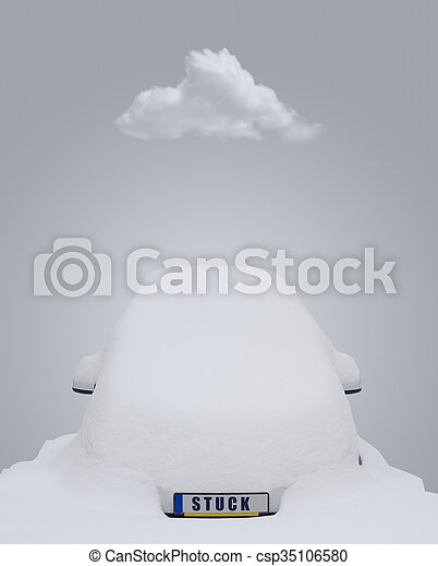 Car stuck in snow - csp35106580