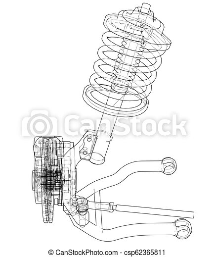 Car suspension with shock absorber