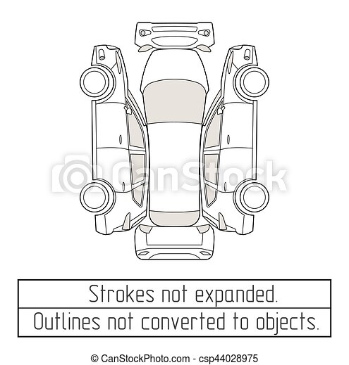 car suv drawing outlines not converted to objects - csp44028975