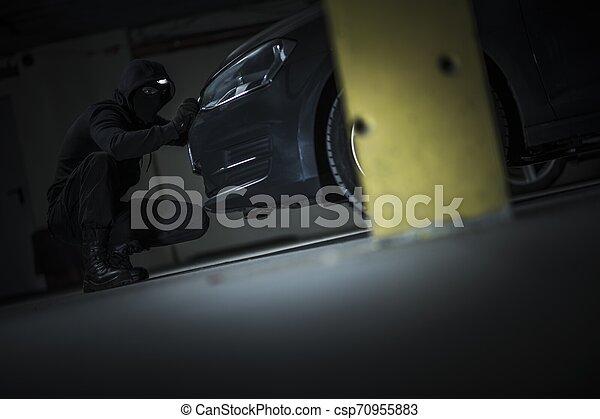 Car Thief Opening Hood - csp70955883