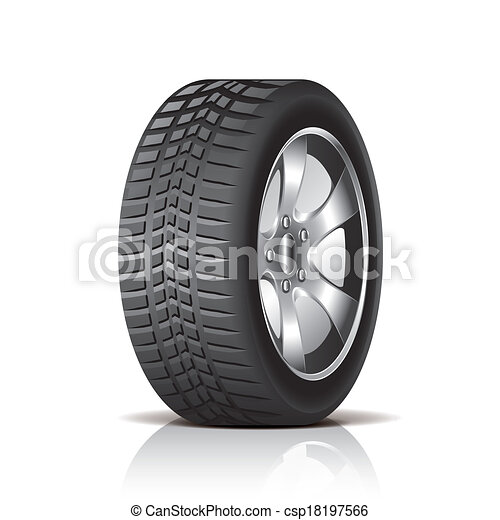 Car tire isolated on white vector - csp18197566