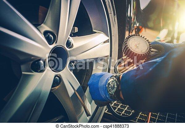 Car Tire Pressure Check - csp41888373