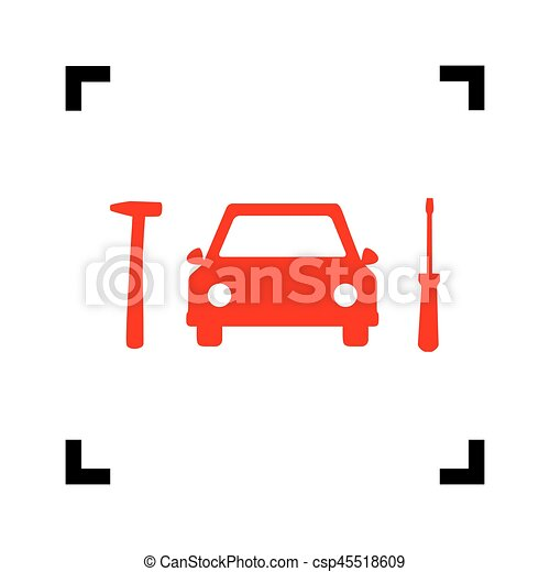Car tire repair service sign. Vector. Red icon inside black focus corners on white background. Isolated. - csp45518609