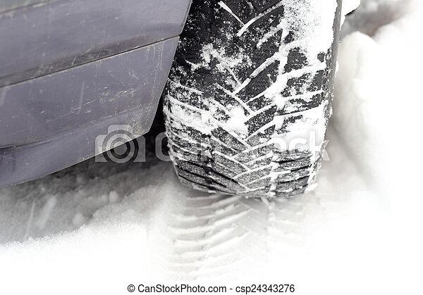 car tire tread in snow - csp24343276