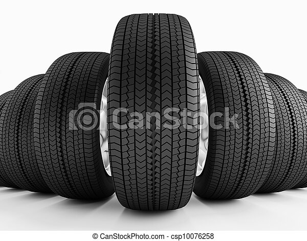 Car Tires In A Row New Black Tires Imitation Wide Angle Stock