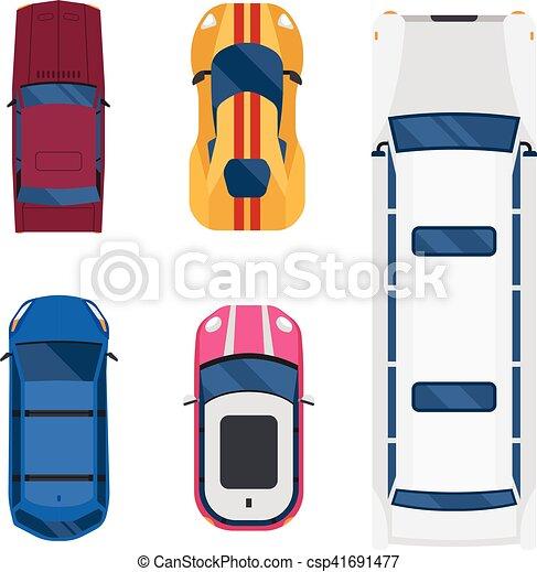 Car Top View Vector Set Eps Clip Art Csp41691477