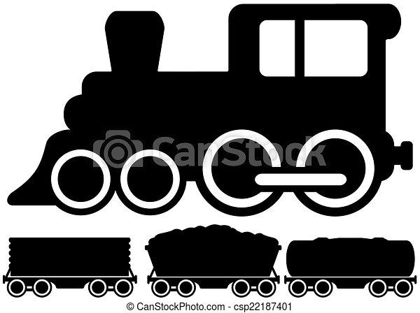 car, trem, isolado, locomotiva - csp22187401