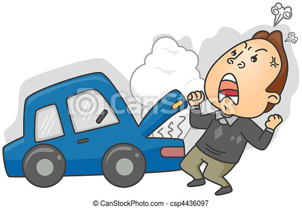 angry man having car trouble