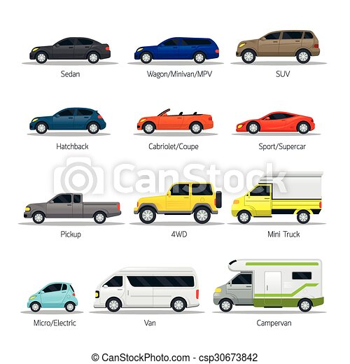 Car Type And Model Objects Icons Set Multicolor Automobile
