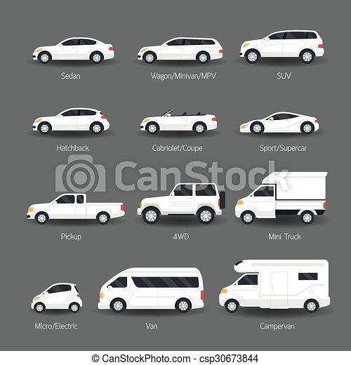 car type and model objects icons set white body color automobile. Black Bedroom Furniture Sets. Home Design Ideas
