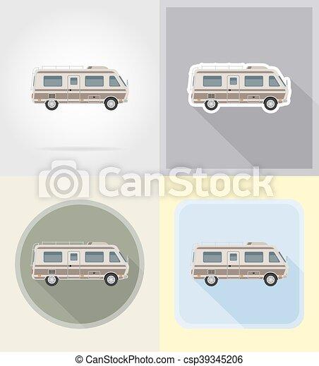 Vector Clipart Of Car Van Caravan Camper Mobile Home Flat Icons