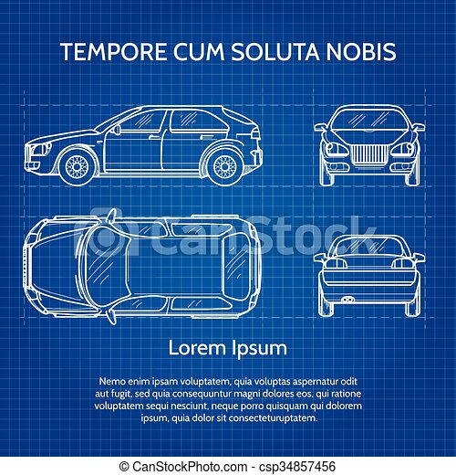 Car vector blueprint vehicle drawing or vehicle blueprint image car vector blueprint malvernweather Gallery