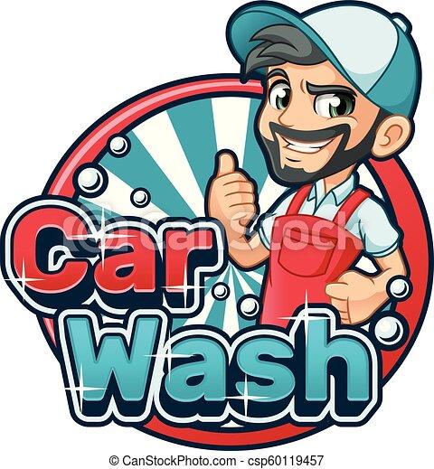 Car Wash Cartoon Logo Car Wash Cartoon Logo Character Design Vector