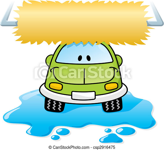 car wash green vector cartoon car washing with roller brush rh canstockphoto com car wash clipart free car wash clip art pictures