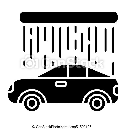 Car Wash Icon Vector Illustration Black Sign On Isolated