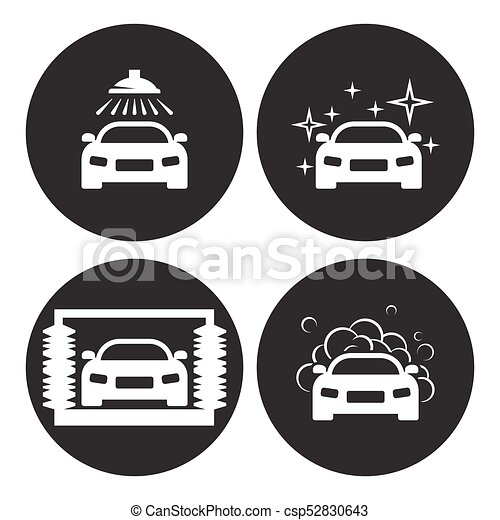 Car Wash Icons Set White On A Black Background