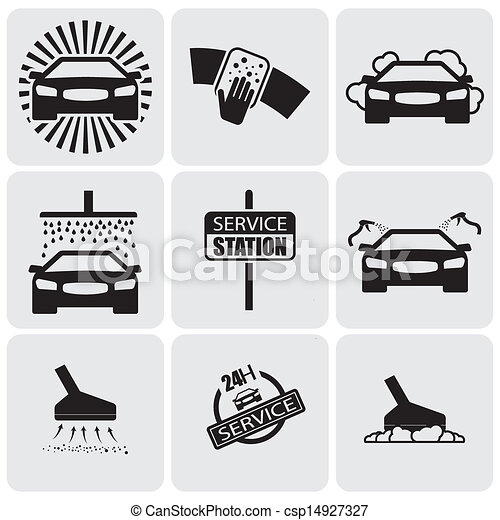 car wash icons(signs) set of cleaning car- vector graphic - csp14927327
