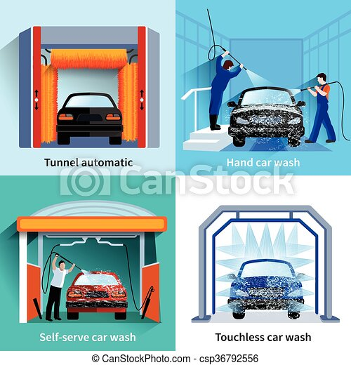 Car wash service 4 flat icons car wash center automatic touchless car wash service 4 flat icons csp36792556 solutioingenieria Choice Image