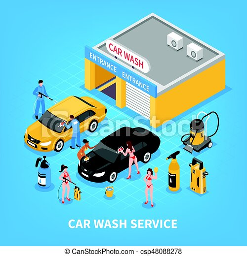 Car Wash Service Isometric Illustration Car Wash Service With
