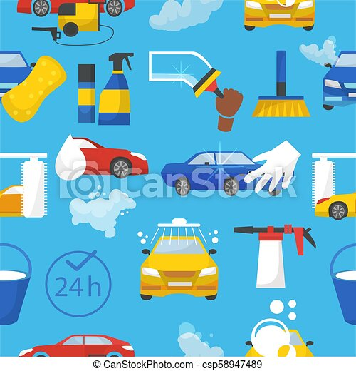 Car Wash Vector Car Washing Service With People Cleaning Auto Or