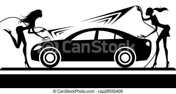 Car wash with fashion models - csp28555409