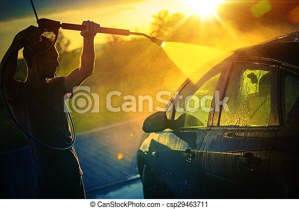 Car Washing at Sunset - csp29463711
