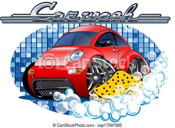 Car Washing sign with sponge - csp17097695