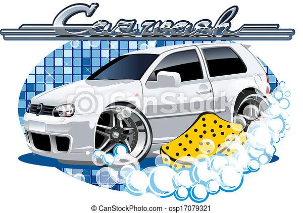 Car Washing sign with sponge - csp17079321