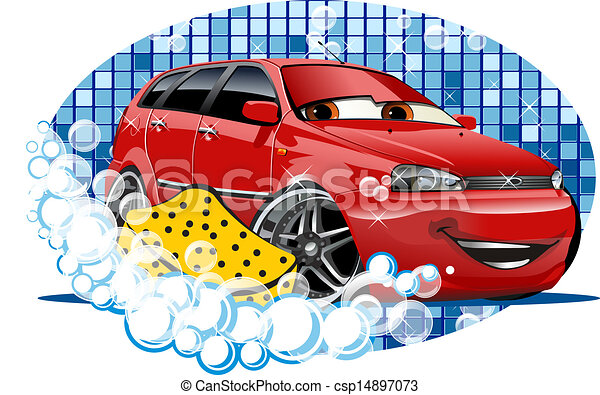 Car Washing sign with sponge - csp14897073