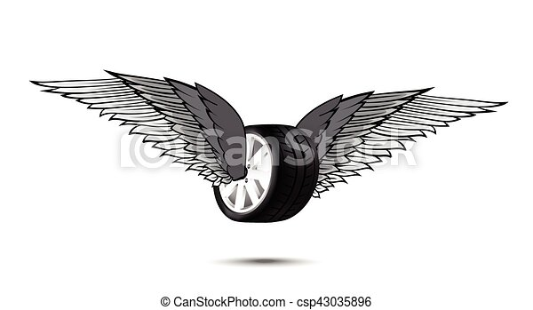 Car Wheel And Tire With Flying Pair Of Wings For Logo And Emblem