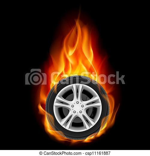 Car Wheel on Fire - csp11161887