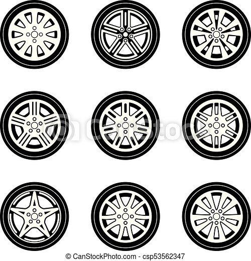 15f97a038e225b Car wheel vector icon set. Vector illustrations of automobile wheels.