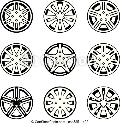 00094b406b066e Car wheel vector icon set. Vector illustrations of automobile parts.