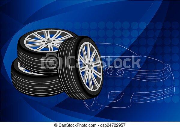 Car wheel. Vector Illustration EPS 10. - csp24722957