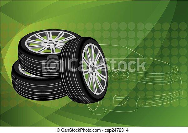 Car wheel. Vector Illustration EPS 10. - csp24723141