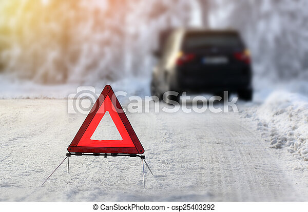 Car with a breakdown in the winter - csp25403292