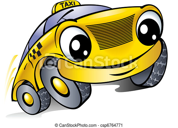 Car with a laughing face. Taxi.  - csp6764771