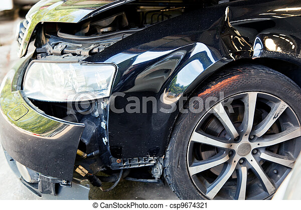 car with body damage after an accident - csp9674321
