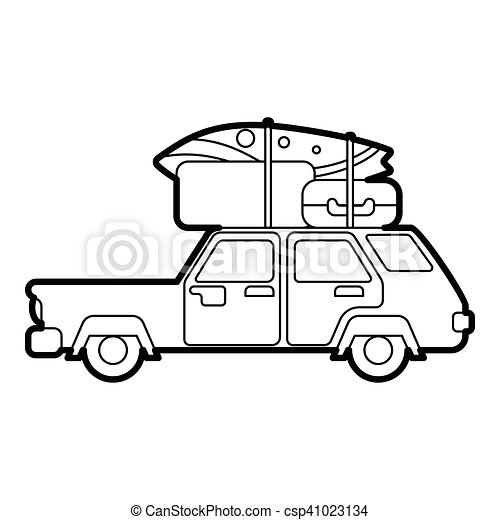 Car With Luggage On Roof Icon Outline Style Car With Luggage On