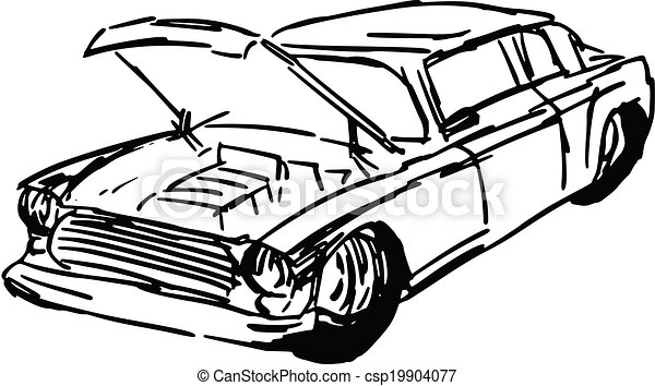 Car With Open Hood Hand Drawn Sketch Cartoon Illustration Of Car