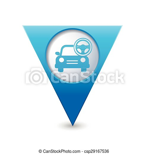 Car with steering wheel icon - csp29167536