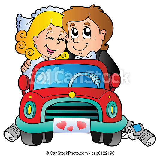 Car with wedding couple - csp6122196
